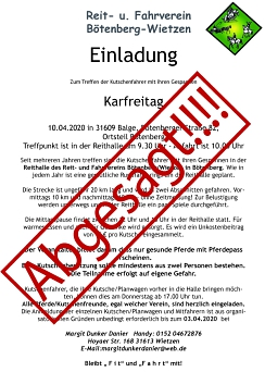 Absage Kutschertreffen wegen Corona©Reit- und Fahrverein Bötenberg-Wietzen