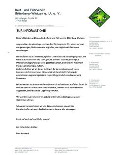 Aktuelle Information©Reit- und Fahrverein Bötenberg-Wietzen