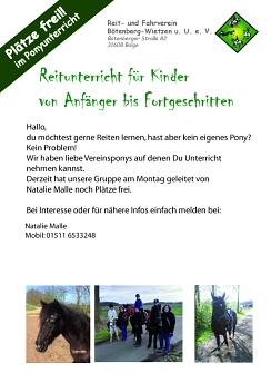 Flyer Ponyunterricht©Reit- und Fahrverein Bötenberg-Wietzen